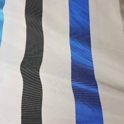 завеса в нежен ванилов цвят с широки райета в два ярки сини цвята и графитено сиво и бяло Мартекс