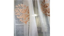 net curtain on transparent base with foggy patterns in coral color TAC