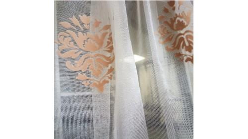 перде мрежа с бароков мотив в коралов цвят ТАС