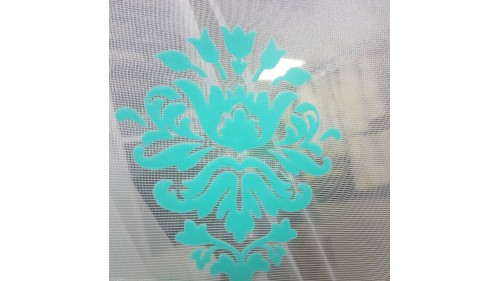net curtain on transparent base with foggy patterns in mint color TAC